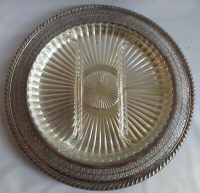 """ORNATE PIERCED SILVER PLATE 13"""" TRAY w 4 PART GLASS INSERT VERY GOOD CONDITION"""