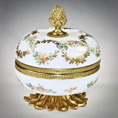 Antique French opaline crystal glass trinket hinged Box signed R.Noirot