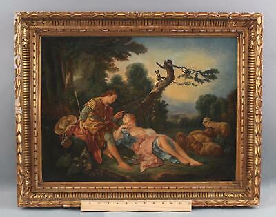 Antique Classical Romantic Oil Painting, Sleeping Shepherdess, after F. Boucher