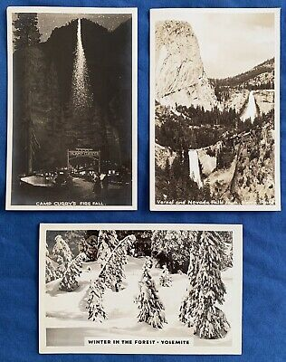 3 RPPC Yosemite Camp Curry's Firefall Vernal Nevada Falls Winter Forest Postcard