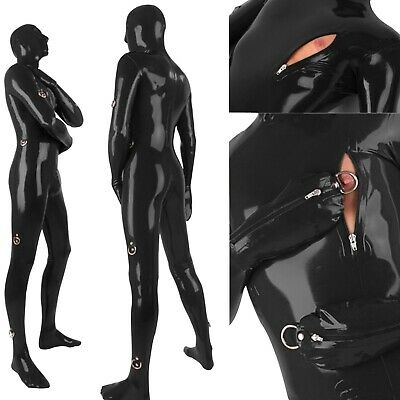 Latex Catsuit Rubber Black Maske Tights Bodysuit Gummi Unisex Overall Ganzanzug