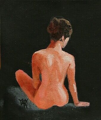 SOLD Nude Girl Woman Female Seated Pose Figure ORIGINAL OIL PAINTING Yary Dluhos