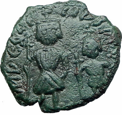 HERACLIUS & Son H. CONSTANTINE 610AD Authentic Ancient Byzantine Coin i78750