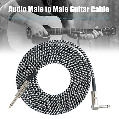 3M Guitar Lead 1 Right Angle Jack Noiseless Braided Tweed Instrument Cable pq