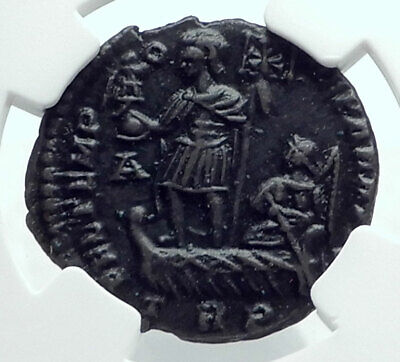 CONSTANS on Ship w Victory & Christian CHI-RHO Authentic Roman Coin NGC i78680