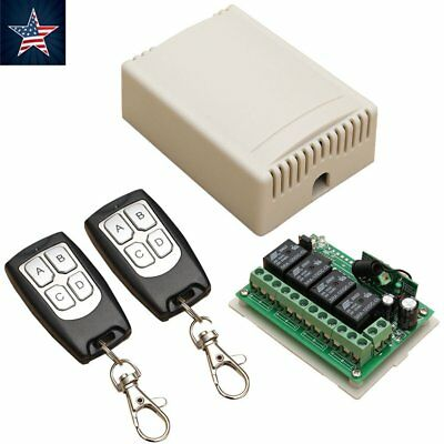 12V 4CH CHANNEL 433Mhz Wireless Remote Control Switch With 2 Transmitters ON