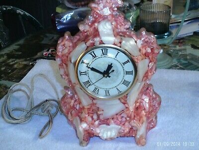 Vintage Handcrafted Mother Of Pearl Electric Mantle Clock