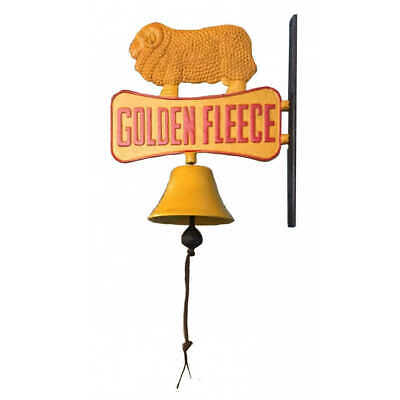 Cast Iron Golden Fleece Bell Sign Plaque Ram Sheep Retro - Man Cave Pub Bar New