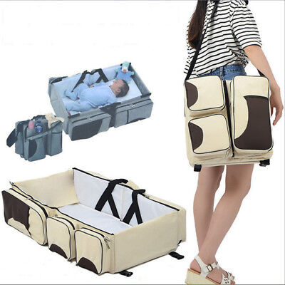 3 in 1 Portable Baby Cots Travel Bed Mummy Bag Cribs Diaper Bag Travel Cots 1214