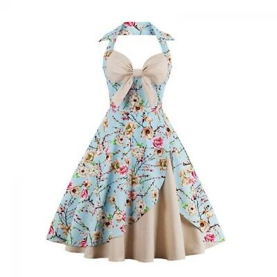 Dress Rockabilly Neck Halter Party Cocktail Vintage Style Swing 1950s Women