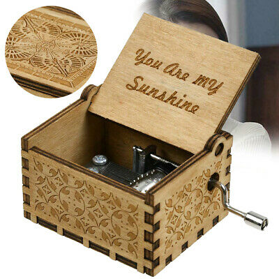 """Wooden Music Box """"You Are My Sunshine"""" Engraved Musical Case Toys Kids Gifts"""