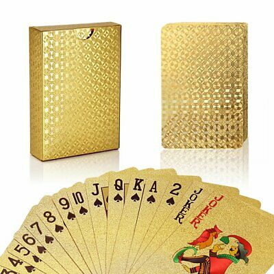 2 Decks of 24K Gold Foil Plating Poker Waterproof Playing Cards for Party Game