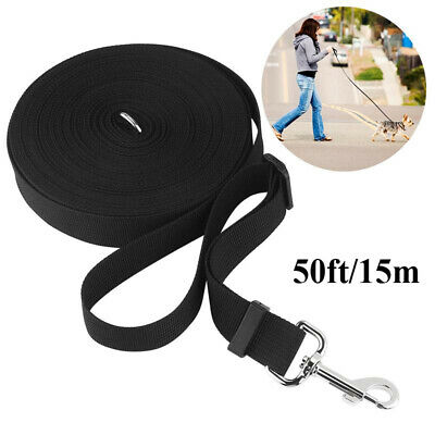 50ft / 15M Pet Dog Puppy Training Lead Long Line Leash Rope Collar Harness Black
