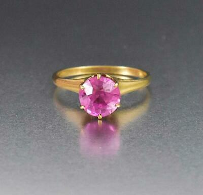 Art Deco Style Solitaire 2CT Pink Sapphire Engagement Ring 18k Yellow Gold Over