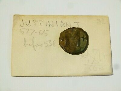 JUSTINIAN I before 538 Byzantine Ancient Bronze Coin 29mm #Q44