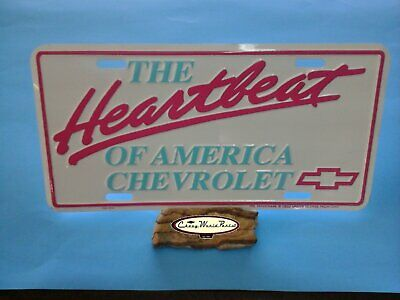 Chevrolet Heartbeat Of America License Plate  Made In Usa Pink Turquoise  White