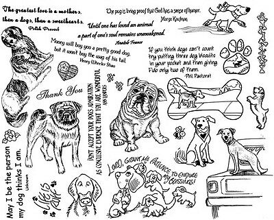 DOG RUBBER STAMP lot words funny sayings hand stamping