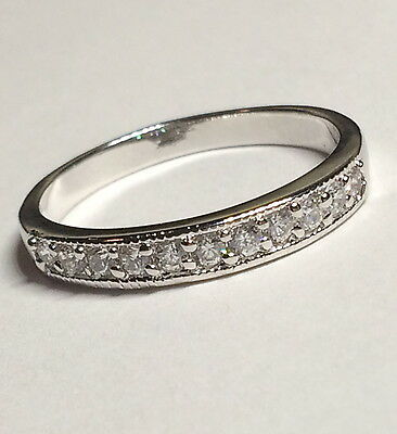 Silver Cubic Zirconia Ring Band Stackable Eternity Vintage Plated Size 9 10