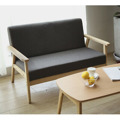 1-2 Seater Sofa Linen Fabric Cushioned Seat Wood Frame Small Family House Chairs