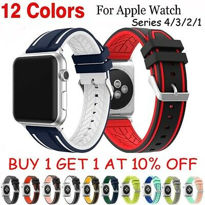 Sports Strap For Apple Watch Band iWatch 4/3/2/1 42/44mm Silicone Bracelet Band