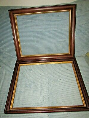 2 Antique Victorian Walnut With Gold Trim Wood Frames