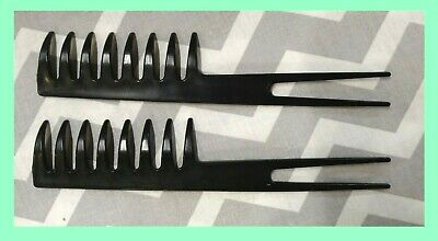 """2pc - 7"""" CURVED WAVE & PICK HAIR COMB Wide Tooth Black Heavy Duty Plastic NEW!!!"""