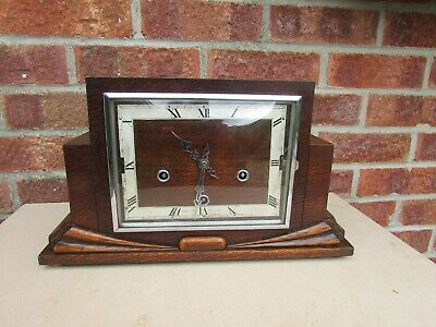 1930s Enfield Oak Art Deco  8 Day Double Chime Mantle Clock.