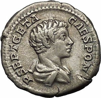 GETA as Caesar 203AD RARE Silver Ancient Roman Coin Good luck Felicitas i52285