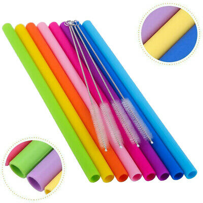 8Pcs Reusable Silicone Drinking Straws +4 Cleaner Brush Kit Tool for Yeti/Rtic