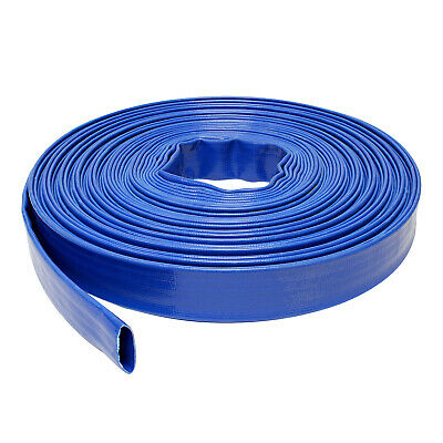 "BISupply | Discharge Hose – 1"" IN by 100' FT Flat Lay PVC Sump Pump Hose, Blue"