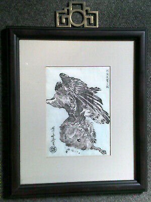 ex-museum antique HOKUSAI woodblock print: Bird of Prey Attacking a Small Animal