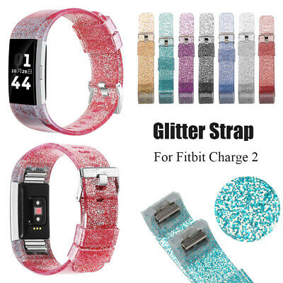 Watch Strap Replacement Silicone WatchBand Glitter Bracelet For Fitbit Charge 2