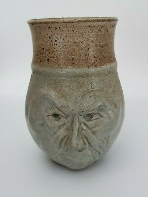 Signed Australian ?  Pottery Grumpy / Grotesque Face Pot / Vase - Mystery Potter