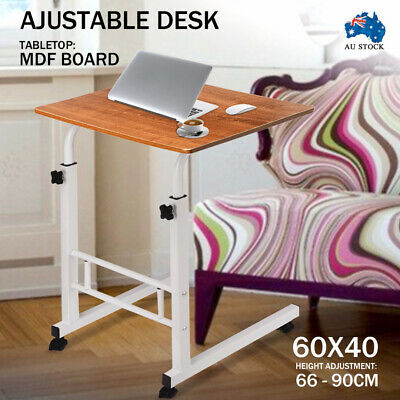 Dark Wooden Adjustable Mobile Laptop Study Desk Stand Bed Side Table Wheels AUS