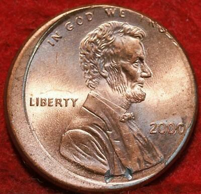Uncirculated Red 2000 Philadelphia Mint Lincoln Cent Off Center Error