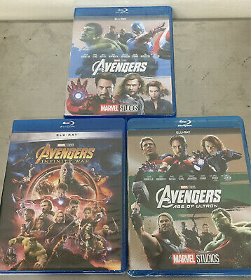 The Avengers 1 2 3 Trilogy BLU-RAY Set. Avengers, Age of Ultron, Infinity War.US