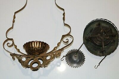 Antique Bradley & Hubbard Oil Lamp Holder / Hanging Lamp Pull Down Pulley Motor