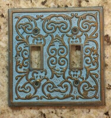HOME ACCENTS Metal Ornate Duel Switch Plate Cover Blue Gold Victorian Old World
