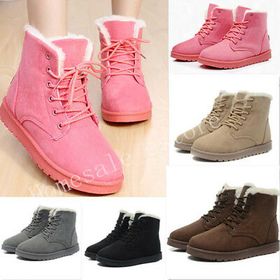 Winter Womens Snow Fur Lined Lace Up Warm Flat High Ankle Boots Round Toe Shoes