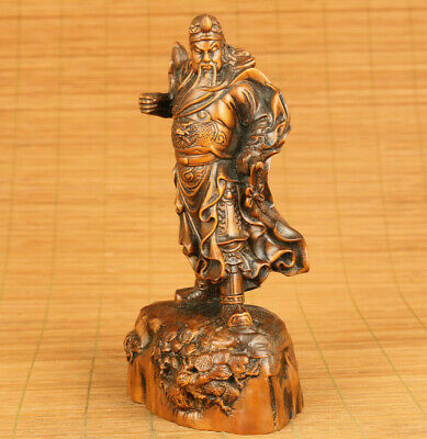 Fine antique old boxwood hand carved GUAN GONG statue collect blessing gift