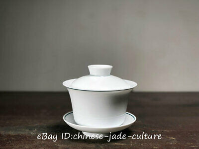 """4"""" Old Collect Chinese Dehua White Porcelain Handwork Kung Fu Tea Cup Bowl Set"""