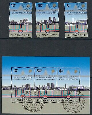 SINGAPORE :1988 Anniversary of Public Utilities set+min sheet SG579-8+MS582 used
