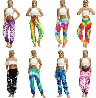 Summer Woman Tie dye printed Thin Bloomers Pockets Loose Pant high-waist
