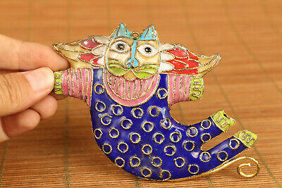 chinese old cloisonne hand carved Happy cat statue netsuke collect pendant