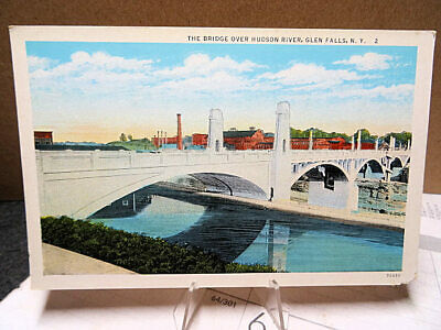 1915 Postcard Bridge Over The Hudson River Glens Falls New York