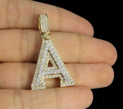 2.70ct Diamonds 'A' Initial Custom 3D Letter Charm Pendant 14kt Yellow Gold Over