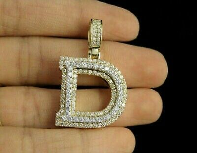 1.80ct Diamonds 'D' Initial Custom 3D Letter Charm Pendant 14kt Yellow Gold Over