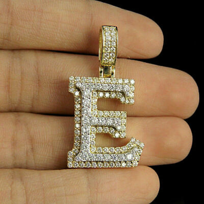2.80ct Diamonds 'E' Initial Custom 3D Letter Charm Pendant 14kt Yellow Gold Over