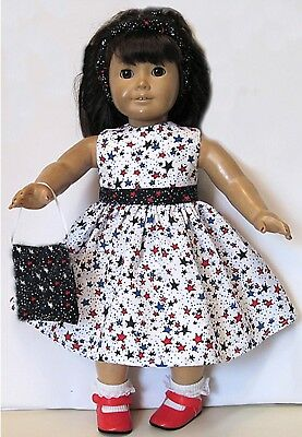 "AMERICAN MADE DOLL CLOTHES fits 18"" Girl Doll HANDMADE PATRIOTIC STAR DRESS"