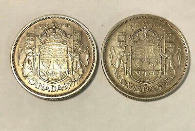 1955 Silver Canada 50 cents coin Half Dollar - KEY DATE - Each
